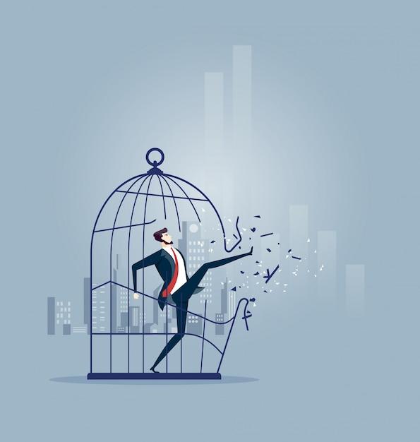 Biznesmen łama Out Wielkiego Birdcage Premium Wektorów