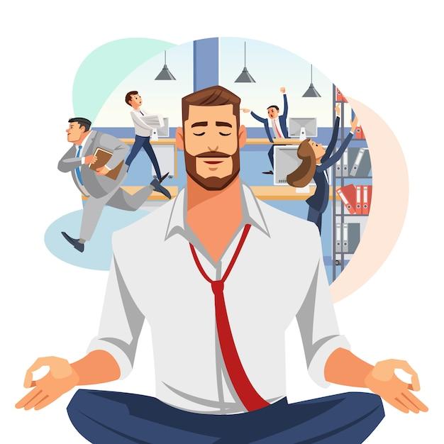 Biznesmen medytuje w biurowym kreskówka wektorze Premium Wektorów