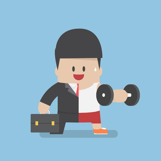 Biznesmen Między Trybem Pracy A ćwiczeniem Premium Wektorów