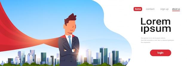 Biznesmen na sobie stronę docelową czerwonej peleryny superbohatera Premium Wektorów