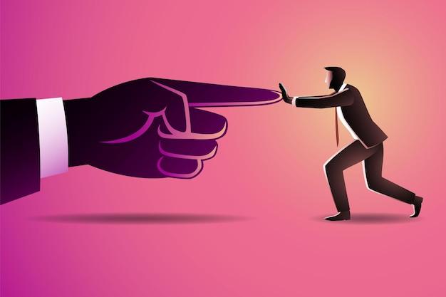 Biznesmen Naciskać Na Wskazanie Palcem Wskazującym Gigantów Premium Wektorów