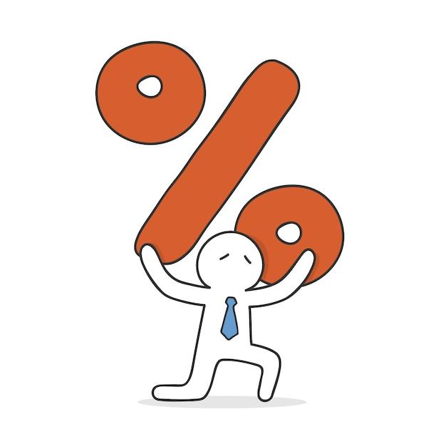 Biznesmen niosąc ogromny znak procentu Darmowych Wektorów