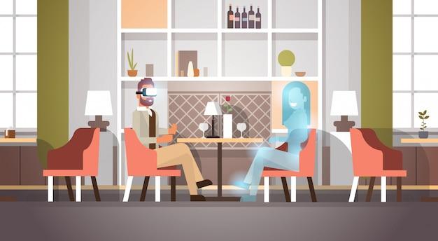 Biznesmen nosić okulary cyfrowe komunikujące się z wizją wirtualnej kobiety vr Premium Wektorów