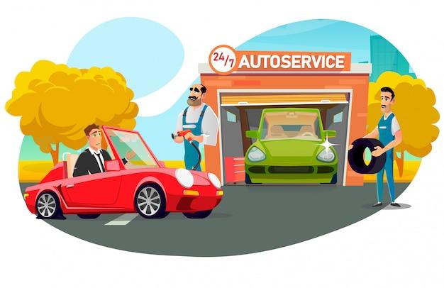 Biznesmen Odwiedza Serwis Samochodowy W Celu Wymiany Koła Premium Wektorów