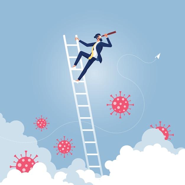 Biznesmen Patrząc W Przyszłość Przezwyciężyć Koncepcję Wizji Biznesowej Wirusa Koronowego Premium Wektorów