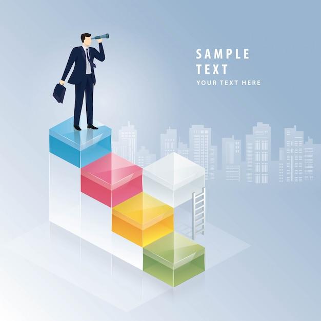 Biznesmen Patrzeje Przez Lornetek, Biznesowego Wzroku Pojęcia Premium Wektorów