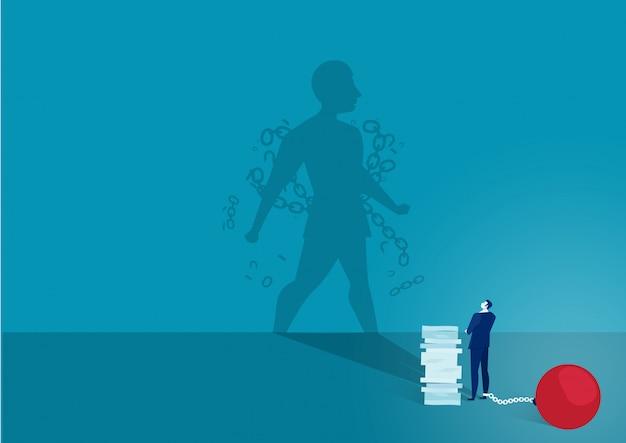 Biznesmen Patrzy Na Swój Cień Cień Przerywa łańcuch I Uwalnia Się Premium Wektorów
