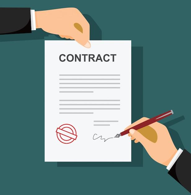 Biznesmen Podpisywania Dokumentu Za Pomocą Pióra I Umowy Premium Wektorów