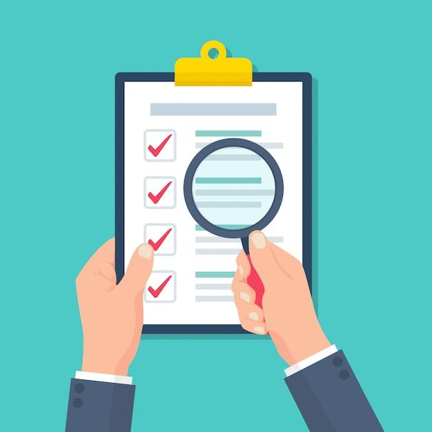 Biznesmen Posiadający Lupę W Schowku Z Dokumentem Kontroli W Płaskiej Konstrukcji Premium Wektorów