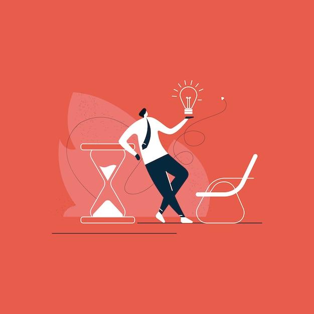 Biznesmen Pozycja Z Kreatywnie Biznesowym Rozwiązaniem Na Czasu Pojęcia Ilustraci Premium Wektorów