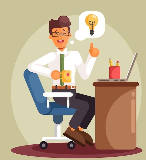 Biznesmen Pracuje Na Komputerze I Czeka Na Dobry Pomysł. Płaski Styl Kreskówki Premium Wektorów