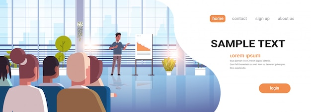 Biznesmen Prezentacji Spada Strzałka W Dół Dla Biznesmenów Na Spotkaniu Konferencyjnym Zmniejszyć Ekonomiczny Kryzys Finansowy Niepowodzenie Koncepcja Pełnej Długości Premium Wektorów