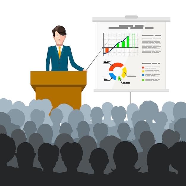 Biznesmen prowadzi wykład dla publiczności z wykresami finansów na afiszu Premium Wektorów