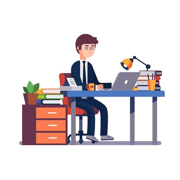 Biznesmen Przedsiębiorca Pracy W Biurze Biurko. Darmowych Wektorów