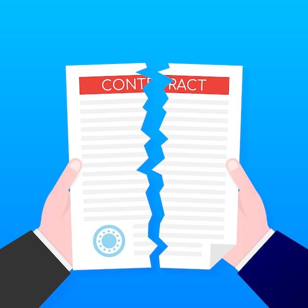 Biznesmen Ręce Naderwanie Dokumentu Umowy. . Premium Wektorów