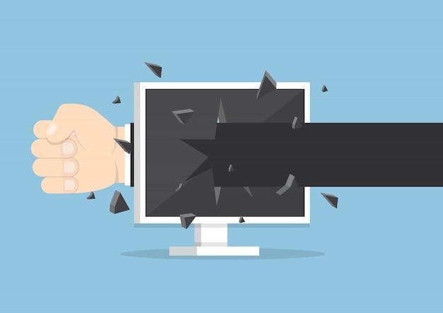Biznesmen ręka rzucić cios przez ekran monitora Premium Wektorów