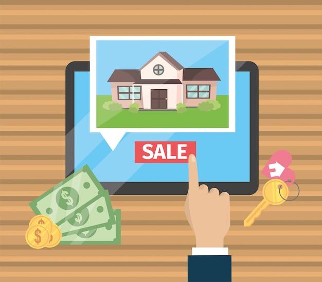 Biznesmen ręka z pastylki i domu sprzedażą Premium Wektorów