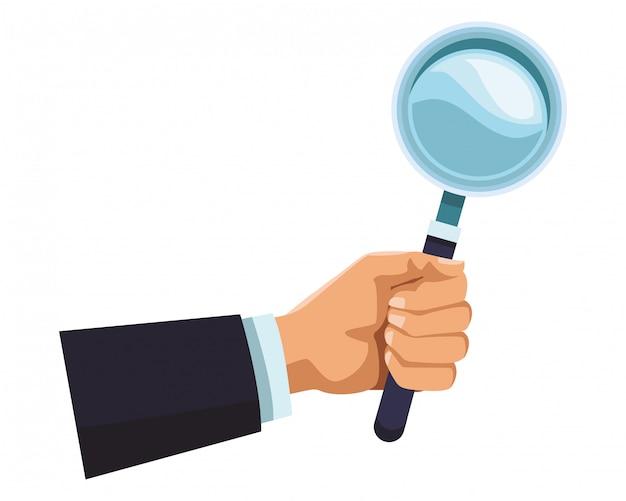 Biznesmen ręka z powiększać - szkło Premium Wektorów