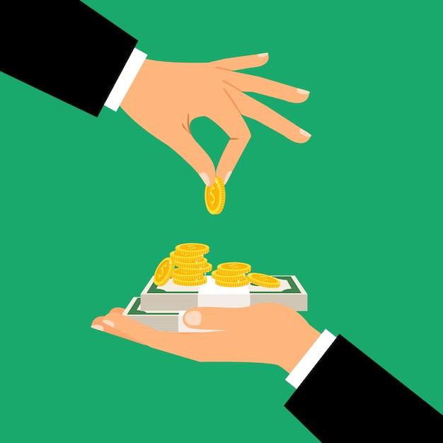 Biznesmen Ręki Trzyma Monety I Banknoty Premium Wektorów