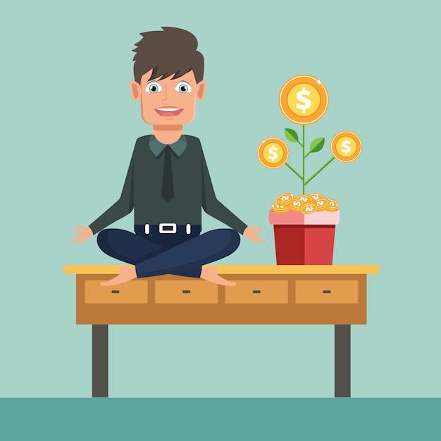 Biznesmen robi joga na biuro stole z pieniądze drzewem Premium Wektorów