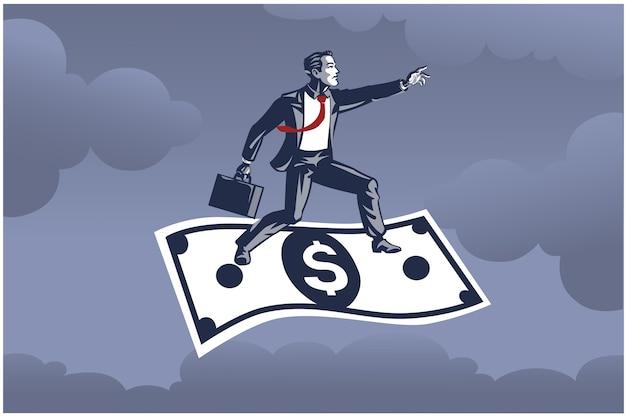 Biznesmen Stojąc Na Latającego Dolara Wysoko Nad Koncepcją Biznesową Nieba Premium Wektorów