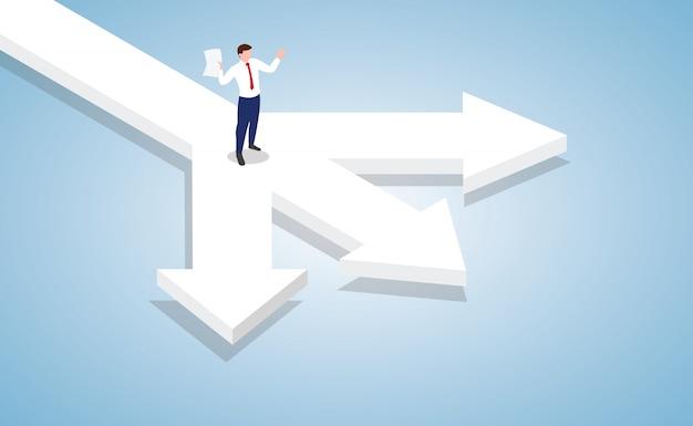 Biznesmen Stojący Na Skrzyżowaniu Decyzji Biznesowych Z Nowoczesnym Stylu Izometrycznym Premium Wektorów