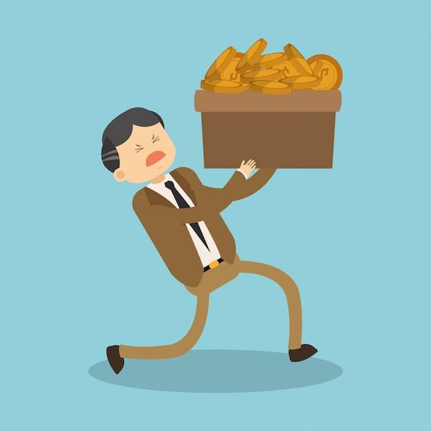 Biznesmen Trzyma Pudełko Z Monetami Premium Wektorów