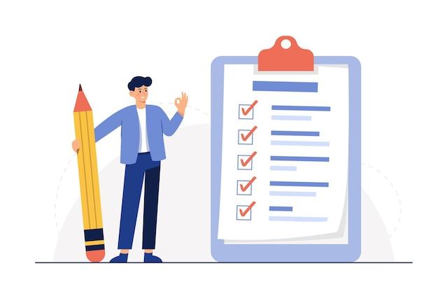 Biznesmen Trzymając Ołówek Na Dużą Pełną Listę Kontrolną Z Zaznaczeniami Darmowych Wektorów