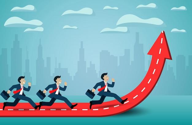 Biznesmen Uruchomić Konkurencji Na Strzałkę Czerwony I Biały. Przejdź Do Celu Sukcesu. Premium Wektorów