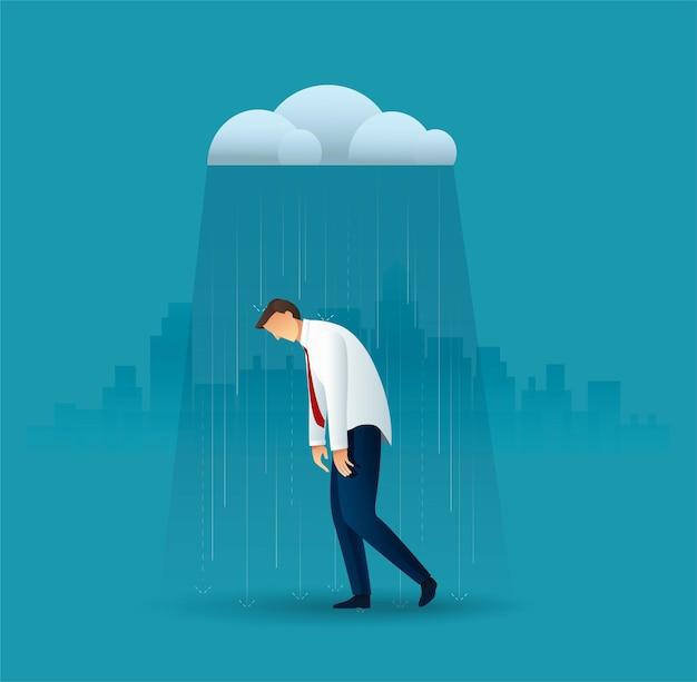 Biznesmen W Deszczu Premium Wektorów