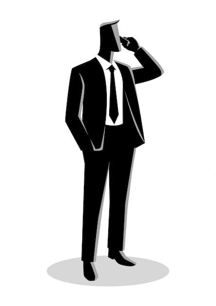 Biznesmen W Formalnym Kostiumu Pozyci Podczas Gdy Na Telefonie Premium Wektorów