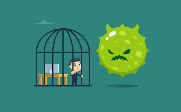 Biznesmen W Klatce Dla Ptaków, A Na Zewnątrz Gigantyczny Wirus. Odosobniony Premium Wektorów
