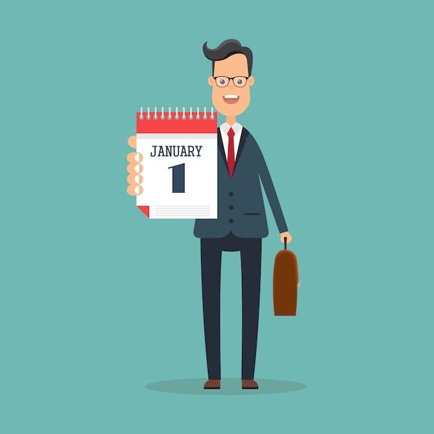 Biznesmen W Niebieskim Kolorze Trzymać Kalendarz Na Rękę. Premium Wektorów