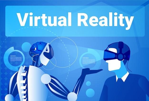 Biznesmen w rzeczywistości wirtualnej używać nowożytnego robota mężczyzna w vr gogle pojęciu Premium Wektorów