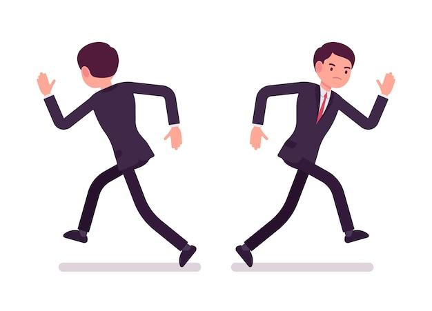 Biznesmen W Wizytowym Bieg, Widok Z Przodu I Tyłu Premium Wektorów