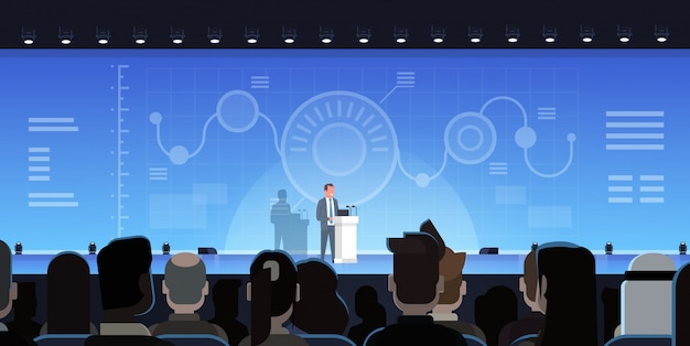 Biznesmen wiodąca prezentacja pokazuje wykresy raporty przed biznesmenów grupować ja Premium Wektorów