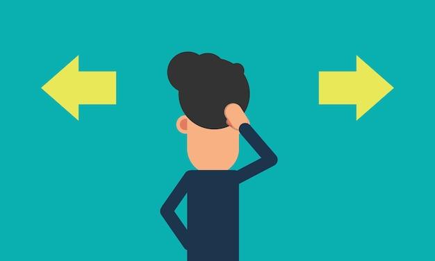 Biznesmen wprawiać w zakłopotanie robi wyborowi przed dwa strzała Premium Wektorów