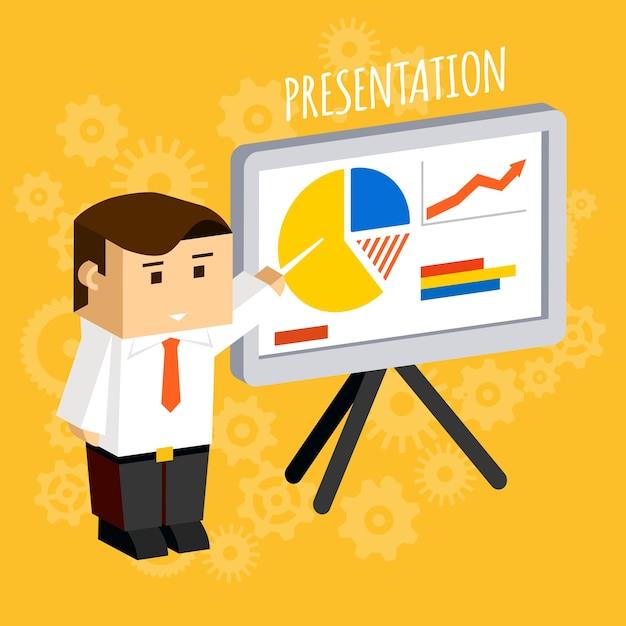 Biznesmen, Wskazując Na Wykresy I Diagramy Na Tablicy Prezentacji, Dane I Analizy, Statystyki I Wzrost. Darmowych Wektorów
