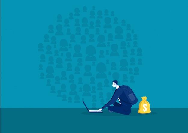Biznesmen Wyszukiwanie W Sieci Społecznościowej Premium Wektorów