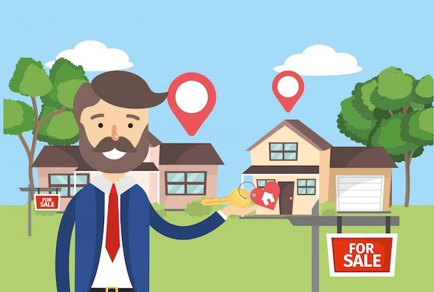 Biznesmen z domów sprzedaży nieruchomości i lokalizacji Premium Wektorów