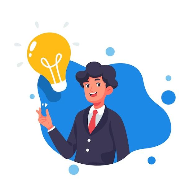 Biznesmen z kreatywnie wektorową ilustracją Premium Wektorów