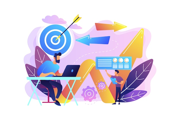 Biznesmen Z Laptopem, Celem I Strzały. Kierunek Biznesowy I Strategia, Zwrot I Koncepcja Kampanii Zmiany Kierunku Darmowych Wektorów