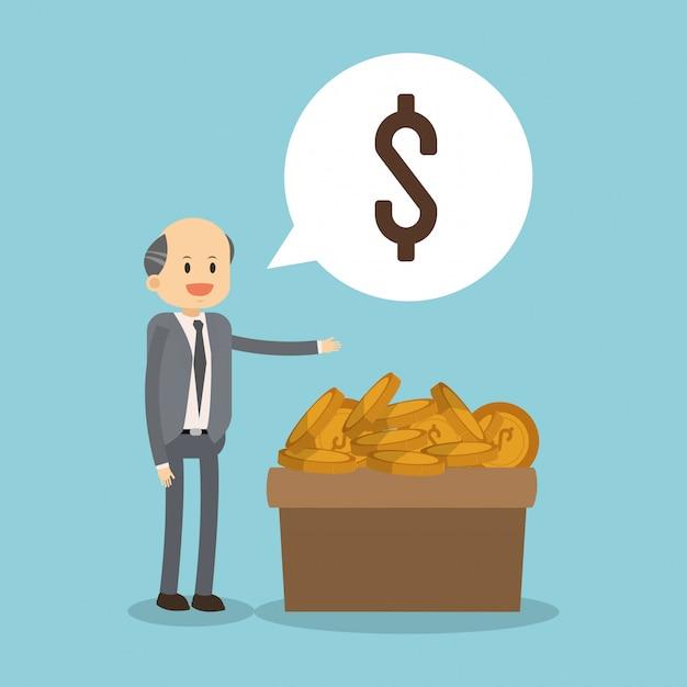 Biznesmen Z Monetami Na Pudełku Premium Wektorów