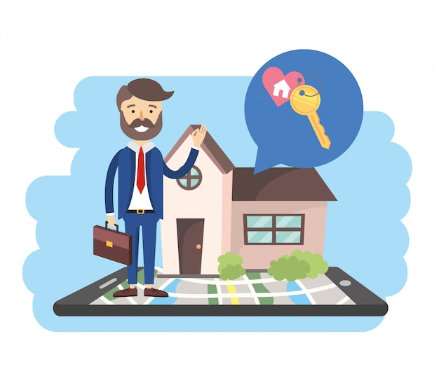 Biznesmen z smartphone mapą i sprzedaż domem Premium Wektorów