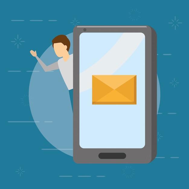 Biznesmen Z Smartphone Z Kopertą, Emaila Pojęcie, Mieszkanie Styl Darmowych Wektorów