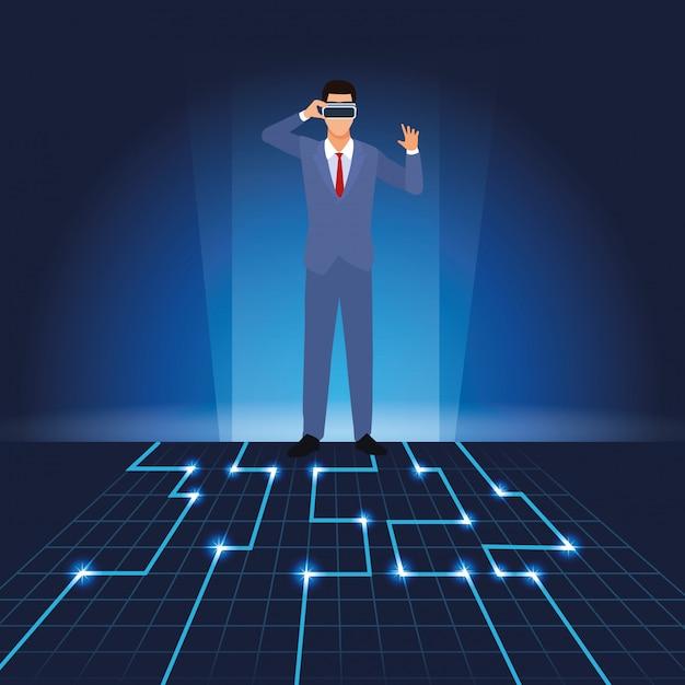 Biznesmen Z Wirtualnymi Szkłami Premium Wektorów