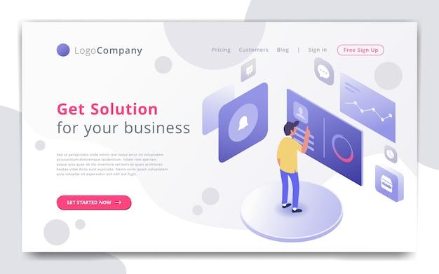 Biznesmen zarządza infographic szablon strony internetowej i studiuje Premium Wektorów