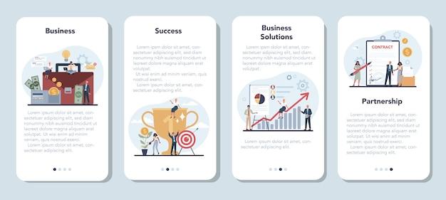 Biznesmen Zestaw Transparentu Aplikacji Mobilnych. Idea Strategii I Osiągnięć W Pracy Zespołowej. Premium Wektorów