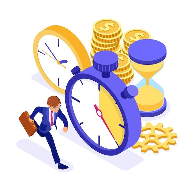 Biznesmena Bieg Z Monetami I Zegar Isometric Ilustracją Premium Wektorów