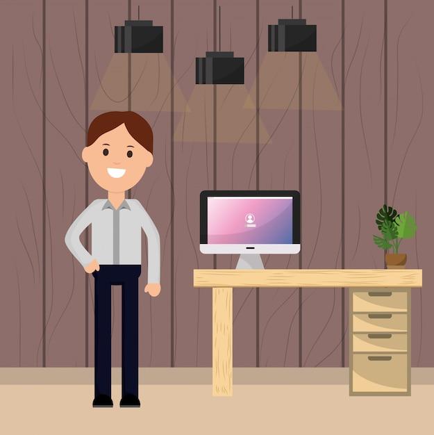 Biznesmena Biurka Biurka Komputerowa Roślina I Lampy Ilustracyjni Premium Wektorów